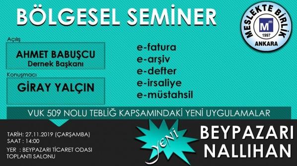 BÖLGESEL SEMİNER -BEYPAZARI / NALLIHAN-