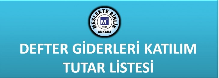 DEFTER GİDERLERİ KATILIM TUTAR LİSTESİ
